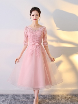 Ericdress A Line Half Sleeve Applique Tea Length Homecoming Dress