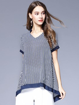 Ericdress Stripe Chiffon Plus-Size V-Neck Blouse