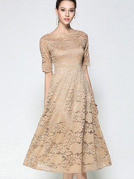 Ericdress Plain Crochet Hollow Half Sleeves Expansion Lace Dress