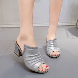 Ericdress Glittering Sequins Peep Toe Mules Shoes