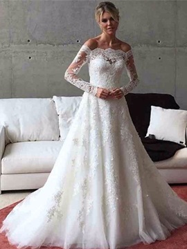 Ericdress Off The Shoulder Appliques Long Sleeves A Line Wedding Dress
