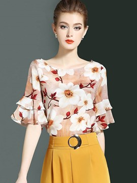 Ericdress Print Chiffon Ruffle Sleeve Floral Blouse