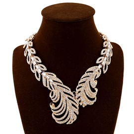 Ericdress High End Rhinestone Hollow Out Feather Necklace
