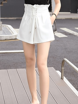 Ericdress Pleated Lace-Up Shorts Pants
