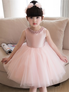 Ericdress Scoop Beaded A Line Knee Length Flower Girl Party Dress