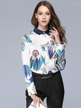 Ericdress Print Lapel Plant Long Sleeve Blouse