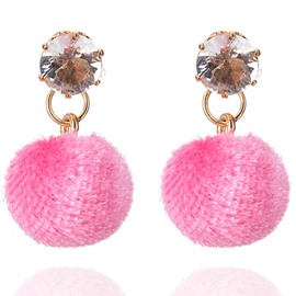 Ericdress Hot Candy Color Plush Ball Women's Earring