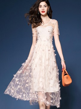 Ericdress V-Neck Mesh Embroidery A Line Dress