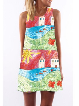 Ericdress Hand Painted Above Knee Casual Dress