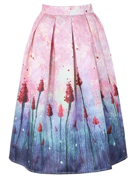 Ericdress Print Mid-Calf Usual Skirts