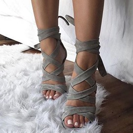 Open Toe Lace-Up Heel Sandals