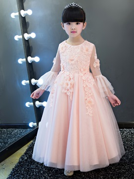 Ericdress Jewel Appliques Long Sleeves A Line Flower Girl Party Dress