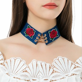 Ericdress Rose Embroidery Choker Necklace