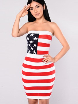 Ericdress European Strapless Stripe Geometric Bodycon Dress