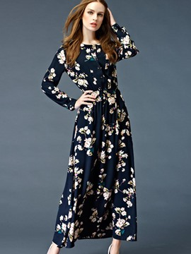Ericdress Long Sleeve Print Expansion Maxi Dress