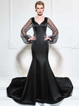 Ericdress V Neck Long Sleeve Mermaid Evening Dress With Court Train