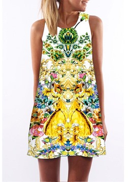 Ericdress Colorful Print Above Knee Casual Dress