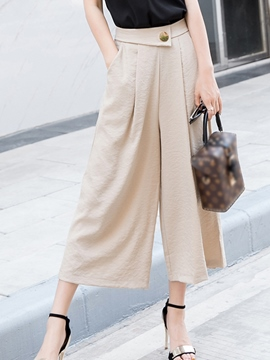 Ericdress Button Pocket Wide Legs Pants