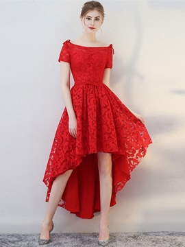 Ericdress Short Sleeve High Low Asymmetry Lace Homecoming Dress