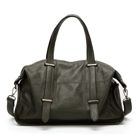 Occident Style Thread PU Leather Handbag