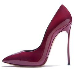 Ericdress Burgundy Pointed Toe Stiletto Heel Pumps