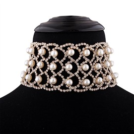 Ericdress Imitation Pearl Diamante Choker Necklace