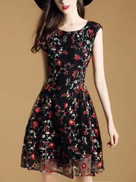 EricdressFloral Embroidery Mesh Mid-Waist Casual Dress