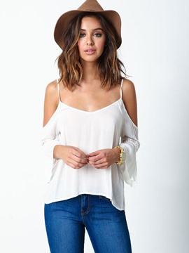 Ericdress Cold Shoulder Plain Flare Sleeve Backless Vest