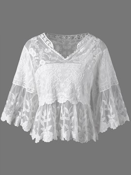 Ericdress V-Neck Hollow See-Through Lace Blouse
