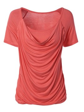 Ericdress Pleated Solid Color Heap Collar Short Sleeve T-shirt