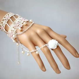 Ericdress Vintage White&Pink Lace Knitted Women's Bracelet