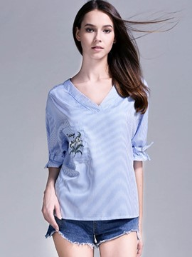 Ericdress Stripe V-Neck Backless Embroidery Blouse