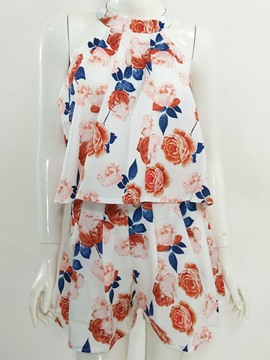 Ericdress Sleeveless Lace-Up Print Suits