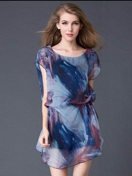 Ericdress Print Sleeveless Plus-Size Chiffon Blouse