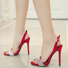 Ericdress Princess Suede Rhinestone Stiletto Sandals