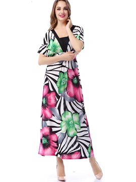 Ericdress Bohemian Print Meryl Batwing Sleeve Maxi Dress