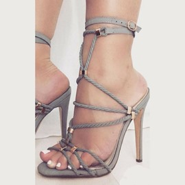 Strappy Buckle Stiletto Heel Sandals