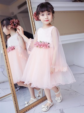 Ericdress Ball Gown Long Sleeves Knee Length Flower Girl Dress