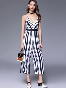 Ericdress Backless Lace-Up Stripe Jumpsuits Pants