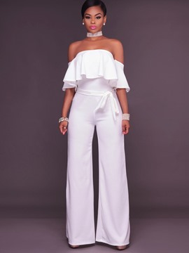 Ericdress Off Shoulder Wide Leg Women's Jumpsuit