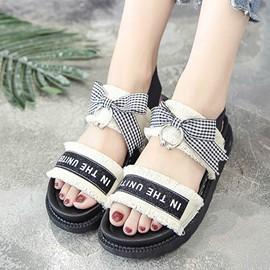 Ericdress Denim Patchwork Bowtie Flat Sandals