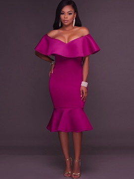 Ericdress Slash Neck Ruffles Mermaid Sheath Dress