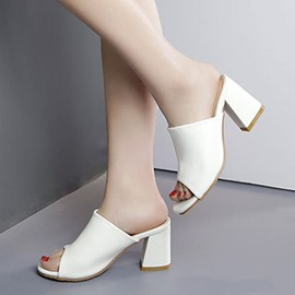 Ericdress All Match PU Chunky Mules Shoes