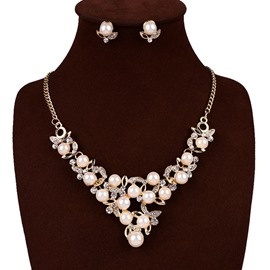 Ericdress Diamante Pearl Flower Jewelry Set for Women
