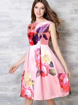 Ericdress European Print Pleated Ball Gown A Line Dress