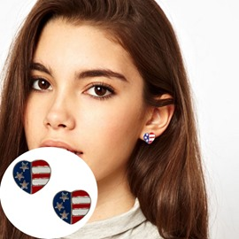 Ericdress All Match Heart-Shaped Flag Stud Earring