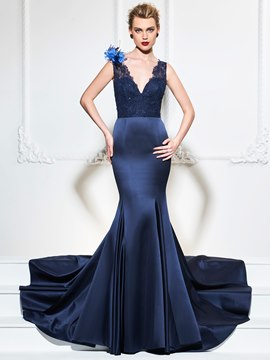 Ericdress V Neck Lace Beaded Mermaid Evening Dress With Court Train