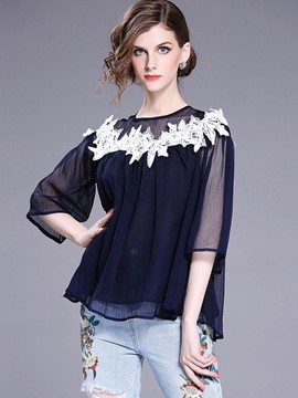 Ericdress Chiffon Lace See-Through Blouse