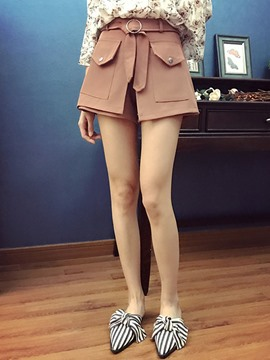Ericdress Lace-Up Pocket Wide Legs Shorts Pants