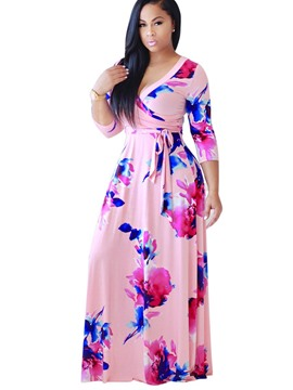 Ericdress V-Neck Floral Print Expansion Maxi Dress